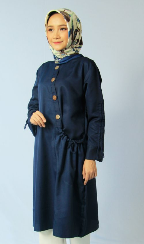 29. Tunik Kantong samping navy | blouse navy - Tunik