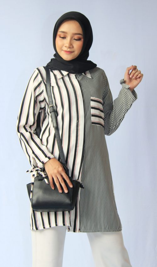 Tunik Stripe Black with Pocket - Test